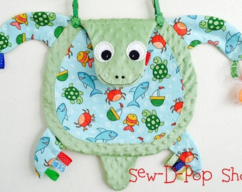 Sea Turtle Baby Tag Blanket Lovey Soothie Toy Pacifier Buddy