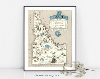 IDAHO MAP - Instant Digital Download - printable picture map to frame - fun on totes, pillows, cards & mugs - vintage map home decor art