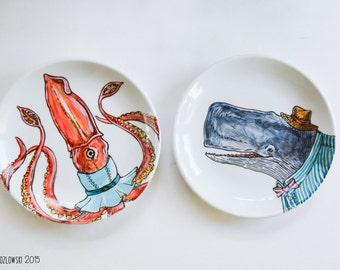 Opposites Attract - Mrs. Giant Squid & Mr. Sperm Whale Dinner Plates - Set of 2