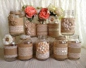 10x rustic burlap and lace covered mason jar vases wedding decoration, bridal shower, engagement, anniversary party decor