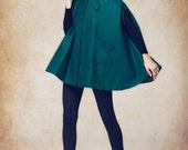 Hooded Wool Coat Jacket in Green, Cashmere Coat Jacket , Hoodie Wool Coat Winter Jacket - Custom Made