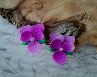 Violet flower jewelry gift earring studs sterling silver vintage flower earrings pink studs blue mother of the bride gift bridesmaids set
