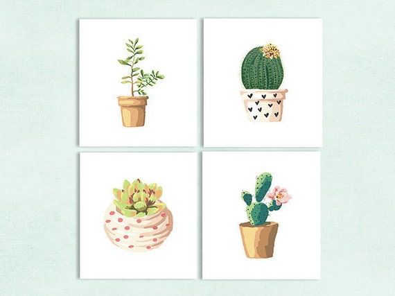 Cactus Print Cactus Art Cactus Decor by LittleLemonPrints on Etsy