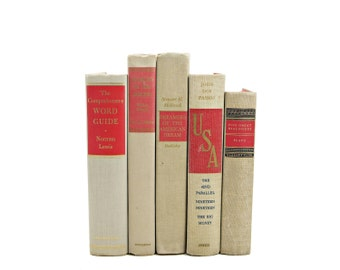 Ivory Decorative Books, Rustic Beige Vintage Book Set, Book Decor, Old Book Collection, Books for decoration, Interior Design, Wedding Decor