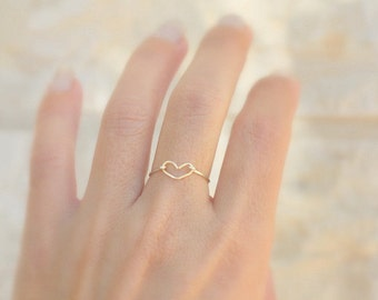 Dainty Heart Ring - Stacking Ring - Minimalist Jewelry - Dainty Jewelry - Silver Heart Ring -  Minimal Ring open heart ring