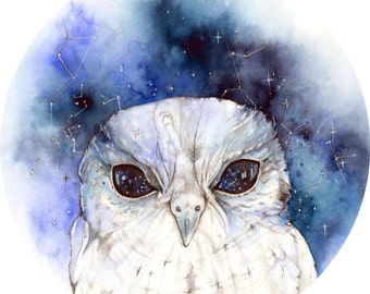 PRINT 6 x 8 Zeus The Owl Cosmic quote circle constellation watercolor print