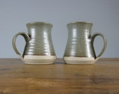 Pair of vintage Studio Pottery stoneware mugs / Pog Crafts Pottery / 1980s / iron oxide / Coffee / Cocoa / English / *13