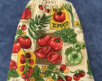 Tomato and Herb - Hanging Reversible Kitchen Towel -  Double Towel - Crochet Top - Button towel