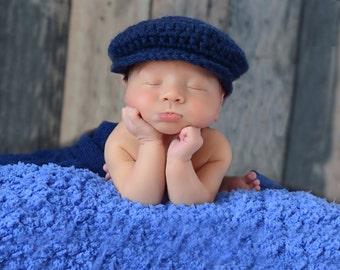 Baby Boy Hat Irish Donegal Cap Newborn Baby Hat Donegal Hat Navy Blue Baby Hat Photography Prop Newborn Photo Prop Baby Cap Newsboy Cap