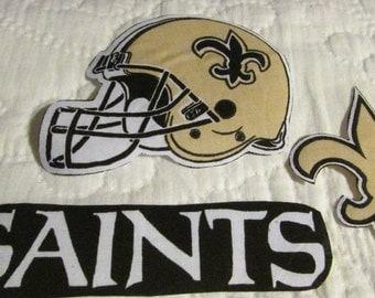 """New Orleans Saints """"NO SEW"""" Appliques"""