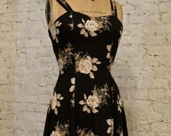 Grunge Dress - 80s/90s - Black and Beige Floral Print Sundress