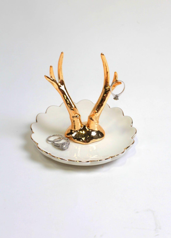 Gold Antler Ring Dish Jewelry Organizer / Ceramic Jewelry