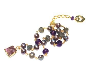 Druzy Bracelet Amethyst Bracelet Rainbow Bracelet Wire Wrapped Bracelet Bright Jewelry Multicolored Bracelet Station Bracelet Labradorite