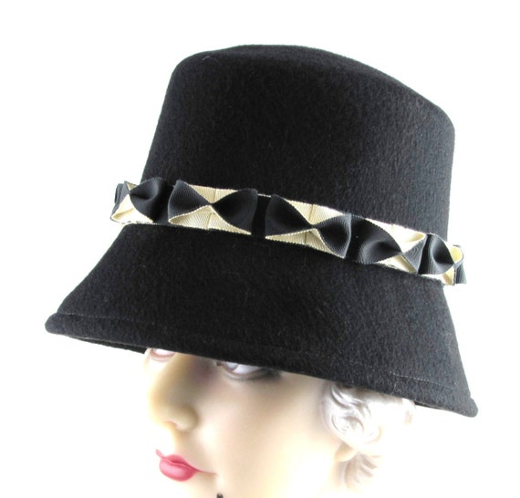 Womens Hat Black Cashmere Cloche Cream Handmade Hat Derby Ascot Races Bows Church Mother of the Bride Custom Art Deco  Made for Each Client