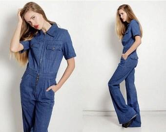 Vintage 1970s Jumpsuit Navy Jean Denim Pant Bell Bottom M L