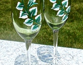 Hand Painted Champagne Glasses With A Silver Rose, Silver Anniversary Gift, Wedding Gift, Gifts For Her, Wedding Glasses