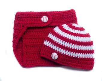 BASEBALL BABY BOY, Baseball Crochet Hat,  Baby Baseball Cap, Baseball Beanie, Newborn Baseball Hat, Newborn Photo Prop, Knit Baseball Hat