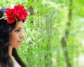 RED ROSE Flower Crown, Boho Headband, Floral Crown, Flower Headband