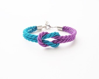 Bridesmaid bracelet - purple and blue wedding - peacock theme - wedding gifts - beach wedding favors - tie the knot bracelet - nautical rope