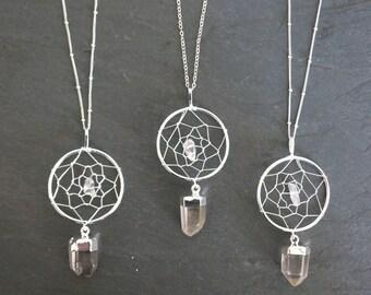 Dream Catcher Necklace / Silver Quartz Necklace / Boho Jewelry  / Raw Crystal Necklace / Silver Quartz Pendant / Mother's Day Gift