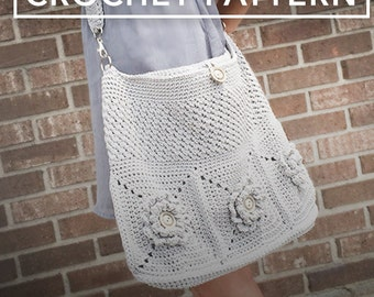 Crochet Purse Pattern, Shoulder Bag Crochet (The Wildflower Shoulder Bag Crochet Pattern by Little Monkeys Crochet) Wildflower Shoulder Bag