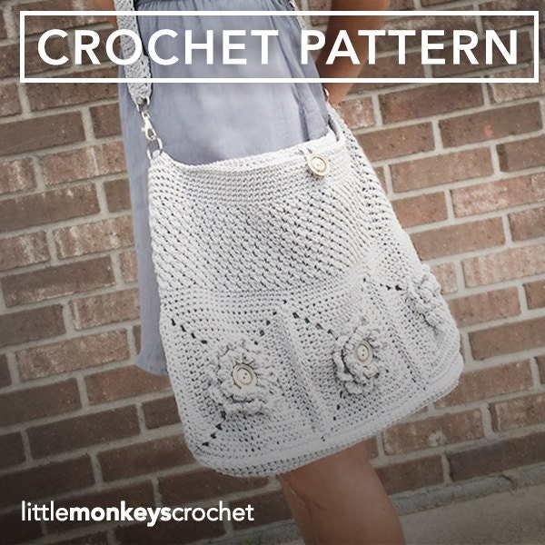 Crochet Bucket Bag Pattern : Crochet Purse Pattern Shoulder Bag Crochet by LittleMonkeysCrochet