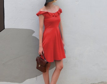 Ginger Off-Shoulder Ruffle Skater Dress in Red.  Bardot Style Strapless Summer Dress with Feminine Neckline Frill