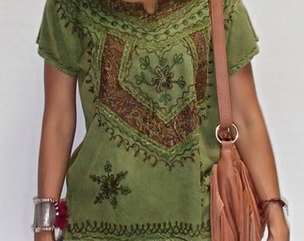 Boho Crystal Top from India. With Custom Silk Embroidery on Batik. 100% Cool and Comfortable Rayon Material. 7 Colors.