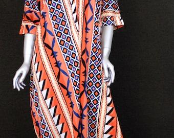 Vintage 70s PopArt Print Caftan Maxi Dress