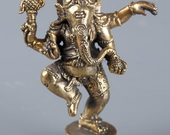 """Ganesha Statue - Southeast Asia Thailand Brass Standing Ganesh - Remover of Obstacles - 2.75"""" Tall"""