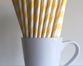 Yellow Paper Straws Party Supplies Party Decor Bar Cart Cake Pop Sticks Mason Jar Straws  Party Baby Shower Graduation