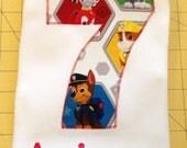 Paw Patrol Birthday Tee Shirt, Childs Boys Girls Personalized Name and Number Monogram tshirt, Gift, Paw Patrol Party