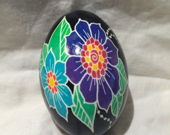 Goose Pysanky: Large Flowers -- Hand dyed Ukrainian Easter Egg