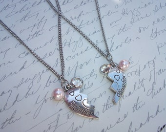 Mother and daughter two part heart puzzle necklace set