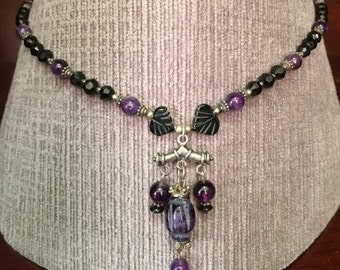 19 inch Amethyst, Onyx and Sterling Silver Beaded Necklace with Pendant