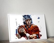 DIGITAL - Peyton Manning Denver Broncos Illustration Print - Instant Download - Multiple Sizes Included - Denver Broncos Football NFL Art