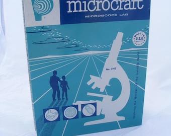 1950s Vintage Porter Microcraft Microscope Lab, Set No. 2105, Case, Microscope, Science Accessories