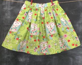Girls Trendy Lime Green Owls Twirly Skirt, Baby Owls & Mod Flowers Trendy Twirl Skirt, Toddler Girl Twirly Skirt, Toddler Size 4T - 5T