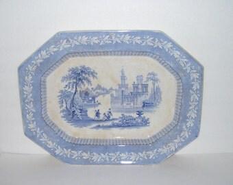 Antique Blue Romantic Staffordshire Transferware Platter