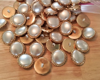 """1"""", Large Pearl & Gold Bulk Buttons for Crafts, Sewing, Bridal Designs, Jewelry and More -400+ pc Button Lot"""