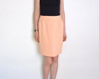 90's powder peach pencil skirt, high waisted peach salmon pink pencil skirt, powder pastel pink skirt, retro preppy secretary skirt