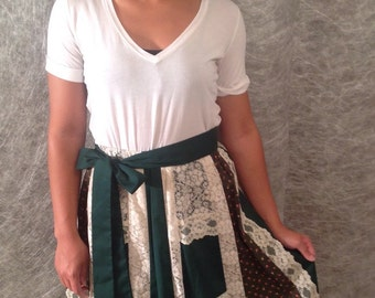 US Made Quilted Patchwork Lace Skirt Size Small