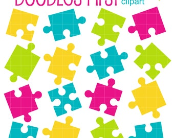 Jigsaw Puzzle Pieces Digital Clip Art for Scrapbooking Card Making Cupcake Toppers Paper Crafts