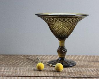 Vintage Avocado Pedestal Dish