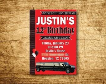 Limo Birthday Party Invitation