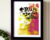 Make a Joyful Noise - Giclée, acrylic and ink painting, abstract art, modern home decor, wall art, digital print