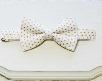 B105 White and Gold dot Bow Tie /baby/boy/adult/adjustable strap/Clipon/bow tie