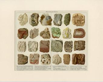 "1890 Antique Matted Minerals & Rocks Print Geology Crystals Gems 12x16"""
