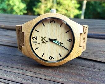 Wood Minimalist Watch, Bamboo Wooden Watch, Engraved Wooden Watch, Handmade for Men Women, Minimalist Design, Groomsmen Gift, Gift for Him
