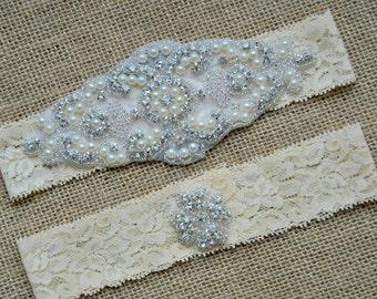 Garter Set Crystal, Wedding Garter Set Ivory, Bridal Garter Set, Vintage Wedding, Lace Garter, Crystal Rhinestone Garter and Toss Garter Set